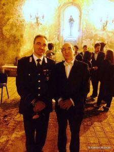 Il Mar.Ca. M° Danilo Di Silvestro e il M° Vincenzo Panuccio, rispettivamente direttore ospite e direttore dell'Orchestra di fiati di Bagnara Calabra