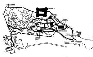Il borgo è circondato da mura, intervallate da quattordici torri, all'interno delle quali si accede attraverso Porta Oliva, Porta di Mezzogiorno e Porta Sant'Andrea.