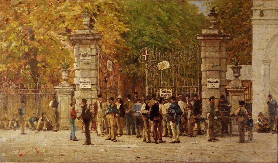 L'ora del riposo durante i lavori dell'Esposizione Nazionale di Milano (1881) - Filippo Carcano